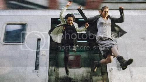 jumping out of moving train Divergent Tris Christina