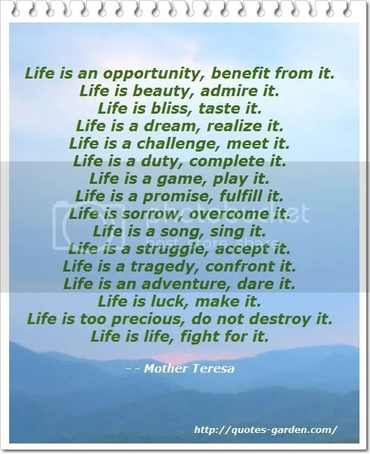 Life Quotes by Mother Theresa