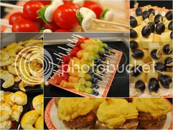 Tomaten & Mozzarella, Rote Weintrauben & Käse, Regenbogen Fruchtspiesse, Hackmuffins mit Kartoffeltopping