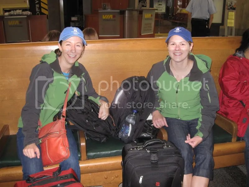 Liz and I waiting for the bus. . . shortly after someone asked us if we were with a sports team. . . ha!