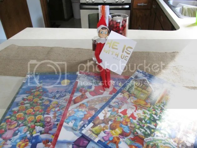elf on the shelf delivering advent calendar
