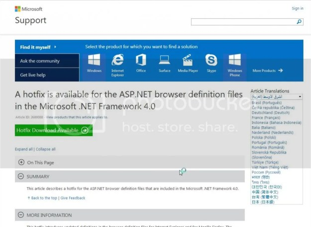 A hotfix is available for the ASP.NET browser definition files in the Microsoft .NET Framework 4.0