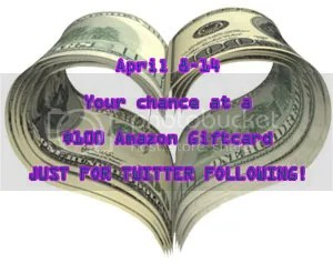 April 8 to 14 enter a 100 dollar Amazon Giftcard giveaway for Twitter follows on the blog of @JLenniDorner