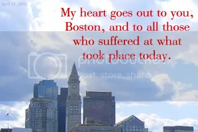 My heart goes out to Boston and those hurt today.