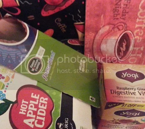 Hot Apple Cider, Focus Blend Coffee, and Yogi Raspberry Ginger tea