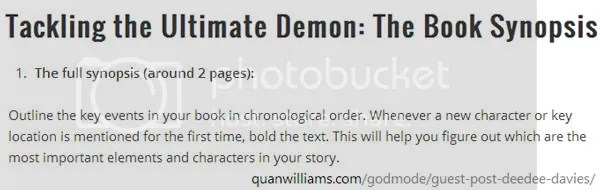 Tackling the Ultimate Demon: The Book Synopsis #writetip by DeeDee Davies on the blog of Quan Williams