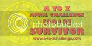 #ATOZCHALLENGE 2013 Survivor badge