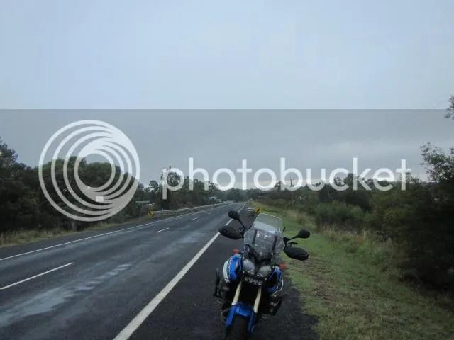 Super Tenere motorcycle at dawn in Mendooran