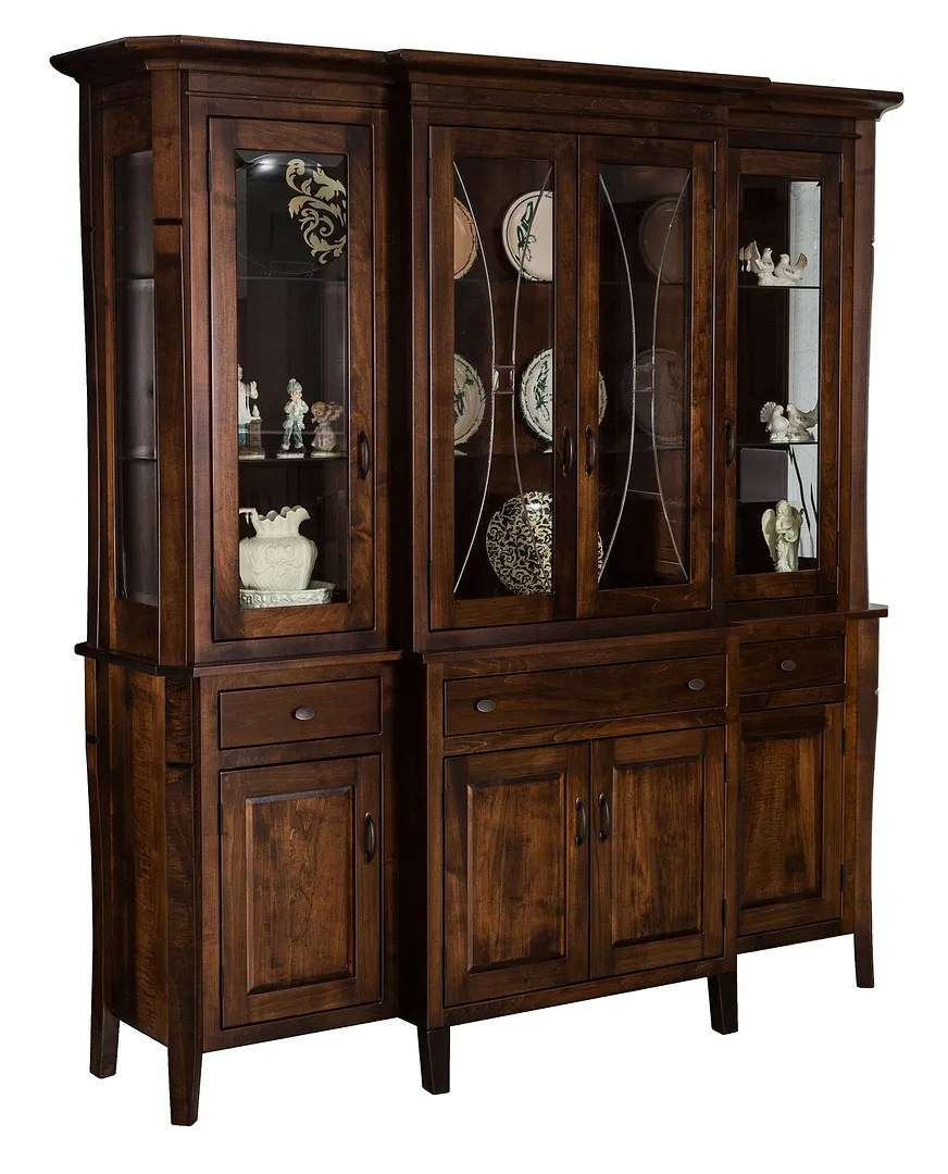 Details About Amish Traditional Shaker Hutch China Cabinet 4 Door Leaded Glass Solid Wood 72