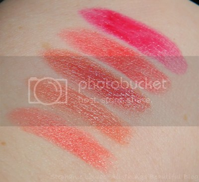 Tarte Amazonian Butter Lipsticks Swatches & Review - Sweet Peach, Angelic Nude, Merry Berry, Pink Poinsettia, & Candy Red