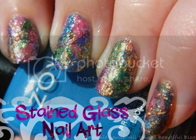 DIY Zoya Glitter Stained Glass Nail Art for Summer with DIY Nail Appliques