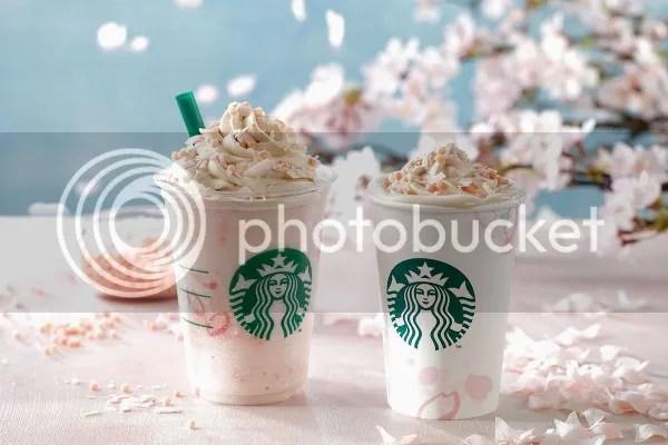 Productos sakura 2017: Sakura Blossom Cream Latte y Sakura Blossom Cream Frappuccino with Crispy Swirl de Starbucks