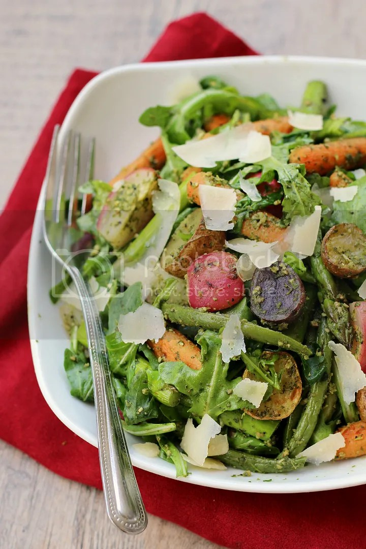 Roasted Spring Vegetable Arugula Salad with Arugula Pesto Vinaigrette - healthy and light Spring meal!