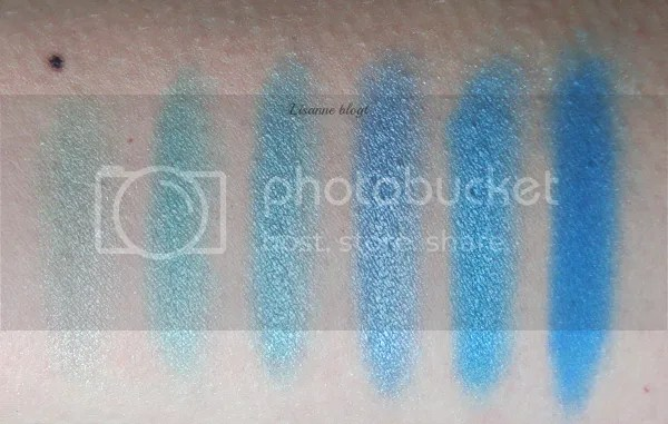 Makeup Revolution, Mermaids vs. Unicorns palette, swatches left half