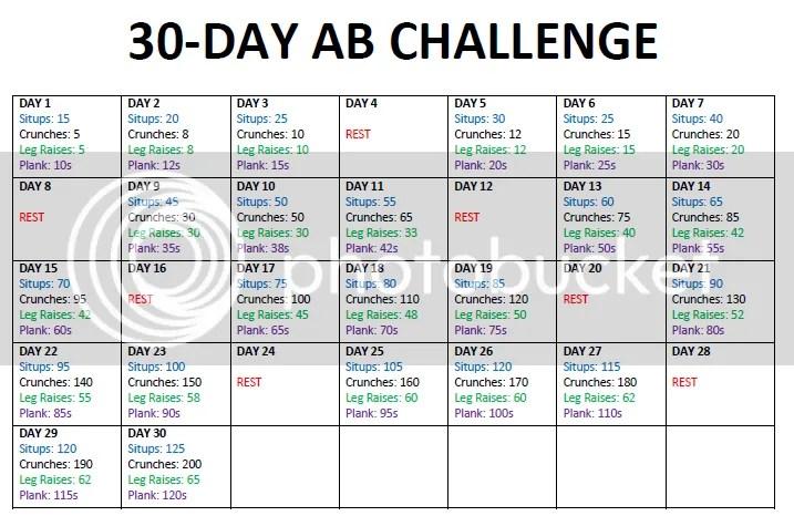 30 Day Ab Challenge Printable