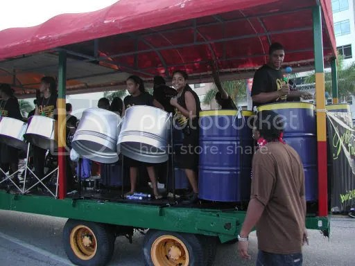 Picture of high school steel band on truckback.