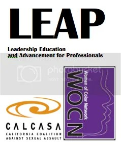 LEAP logo - Women of Color Network logo and CALCASA logo