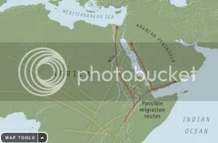 Jalur migrasi manusia keluar Afrika