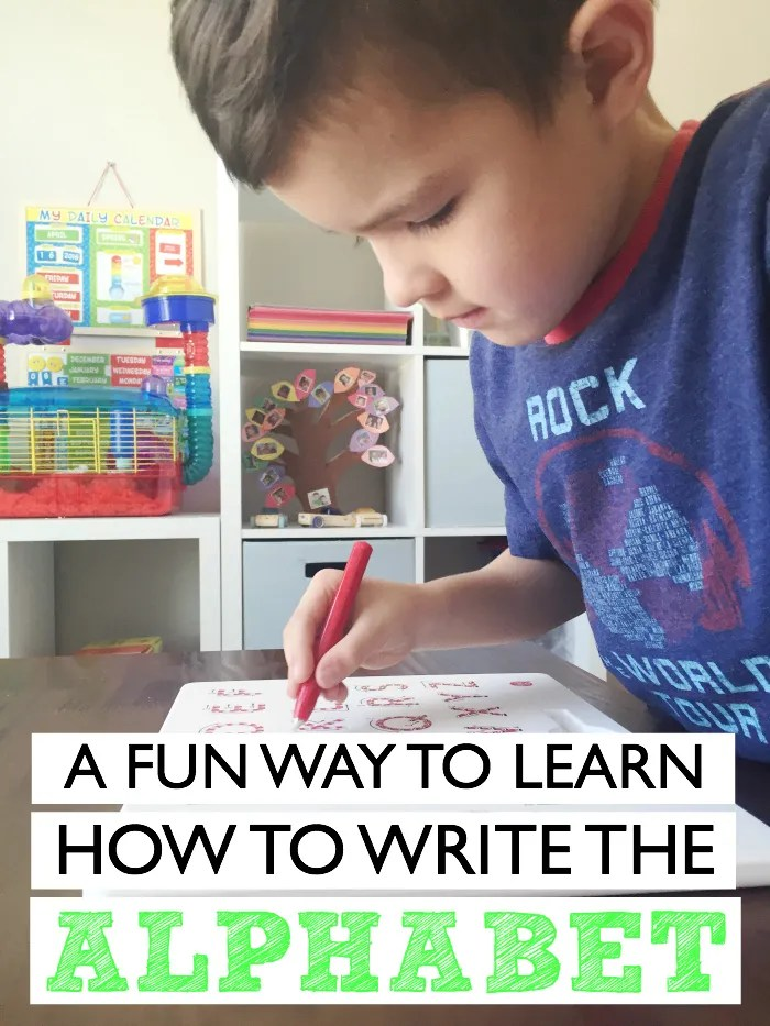 A fun way to learn how to write the alphabet using a magnetic writing board
