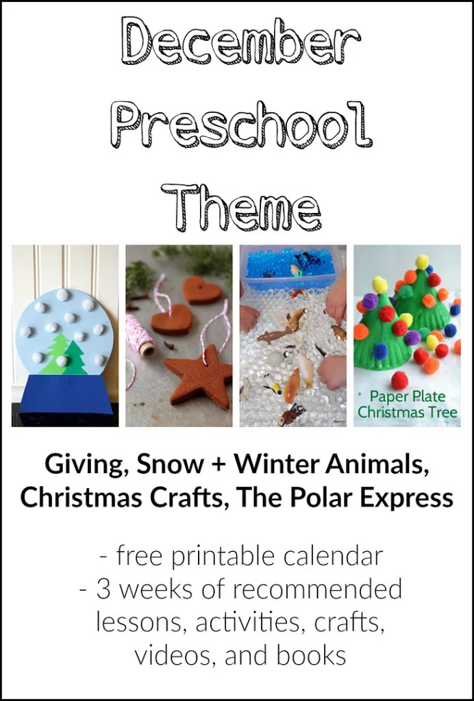 Our December preschool schedule - recommended lessons, activities, crafts, videos, and books. Also a free printable calendar for the month.