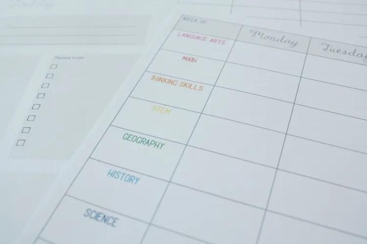 Homeschool Planning Sheet