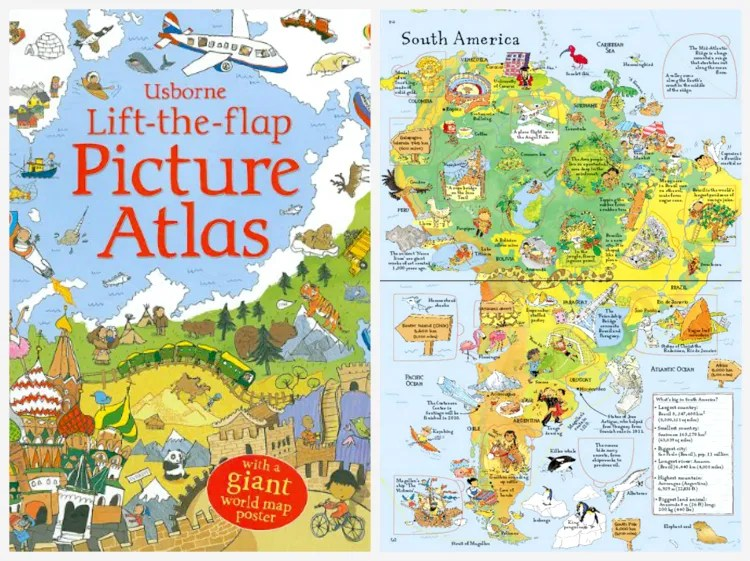 Usborne Lift-the-Flap Picture Atlas - educational gift guide for preschoolers