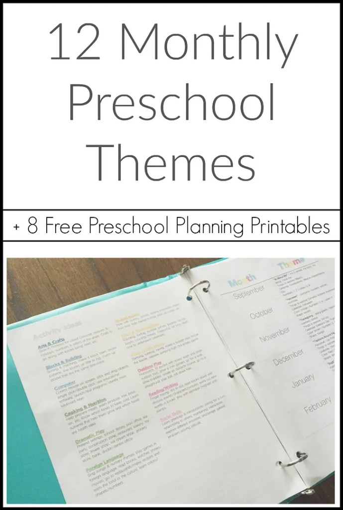 12 Monthly Preschool Themes with 8 free printables for your preschool binder