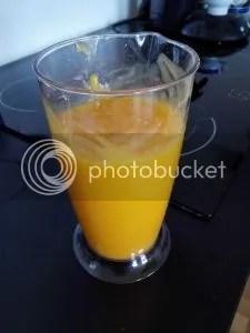 Die zerkleinerten Mangos mit allen weiteren Zutaten. Unmittelbar bevor es in den Gefrierschrank geht...