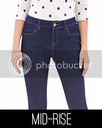 Model wearing mid-rise jeans.