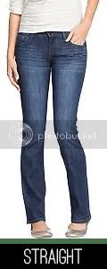 Model wearing straight jeans.