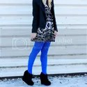 Black and White Dress + Blue Tights