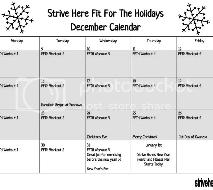 Fit For The Holidays Calendar