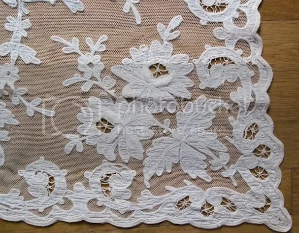 Close Up Of The Lace Table Cloth.