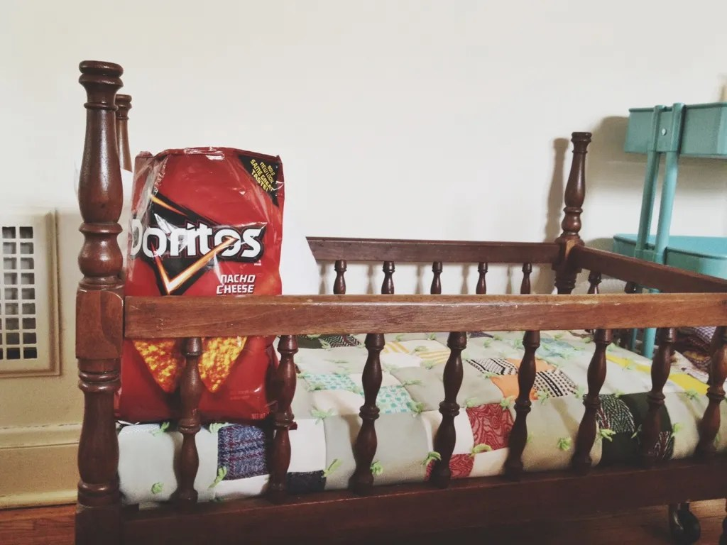 doritos in the baby cradle