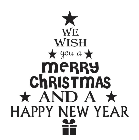 Christmas Holiday STENCIL 12x12 We Wish You A MerryTree