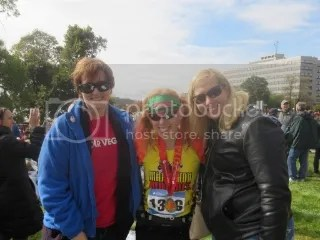 Cathy, Me, and Heather after the Medtronic Twin Cities Marathon in Minneapolis/St. Paul, Minnesota