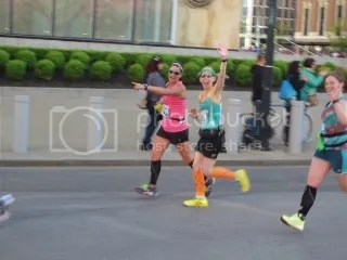 Janelle, me, and Kat love seeing familiar faces around Mile 6.3 in the Buffalo Marathon - Buffalo, New York