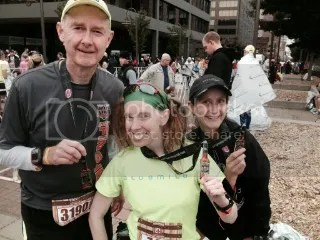 Harry, Me, and Natalie showing off our bling after running the Urban Bourbon Half Marathon, Louisville, Kentucky