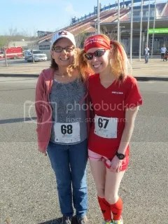 My mom and me at the Making Tracks for Celiacs 5K - Birmingham, Alabama