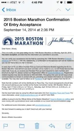 Boston Marathon Confirmation of Entry Acceptance