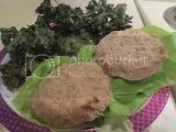 Sophie's Kitchen Vegan Crab Cakes (baked), served over local bibb lettuce with homemade kale chips