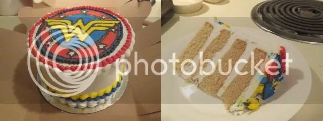 Wonder Woman Birthday Cake from Annie May's Sweet Cafe (vegan vanilla w/ vegan vanilla icing)