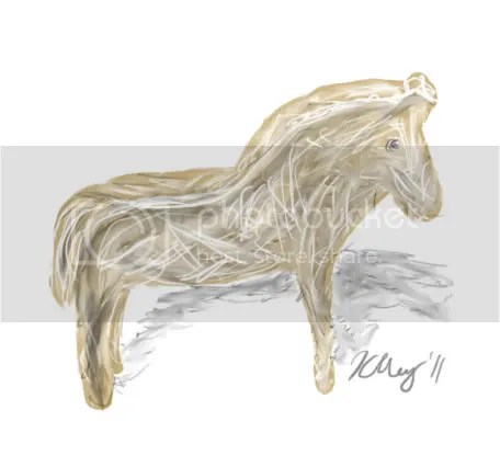 A wittled figurine of a horse made by Percival for Hunith