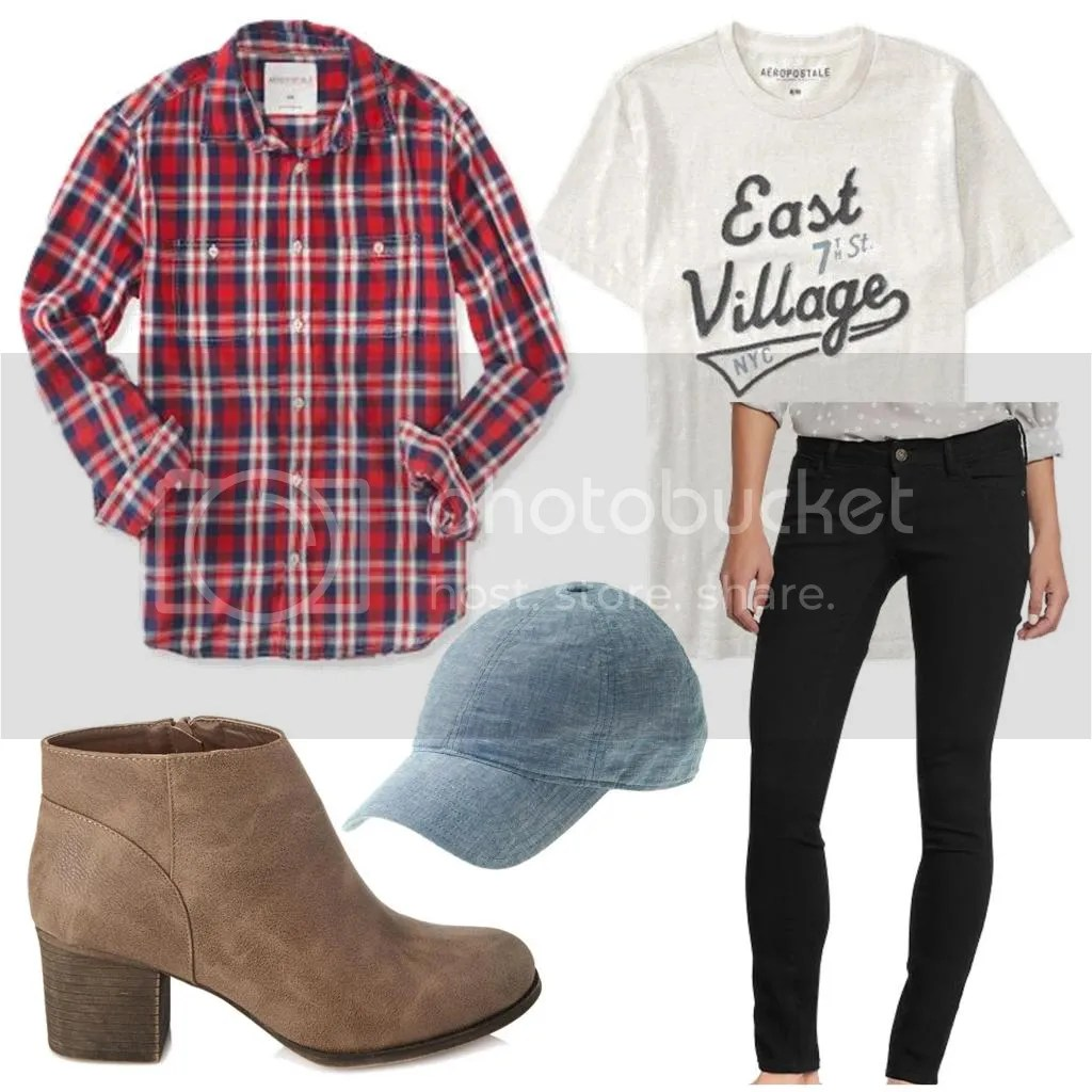 flannel with graphic tee and hat