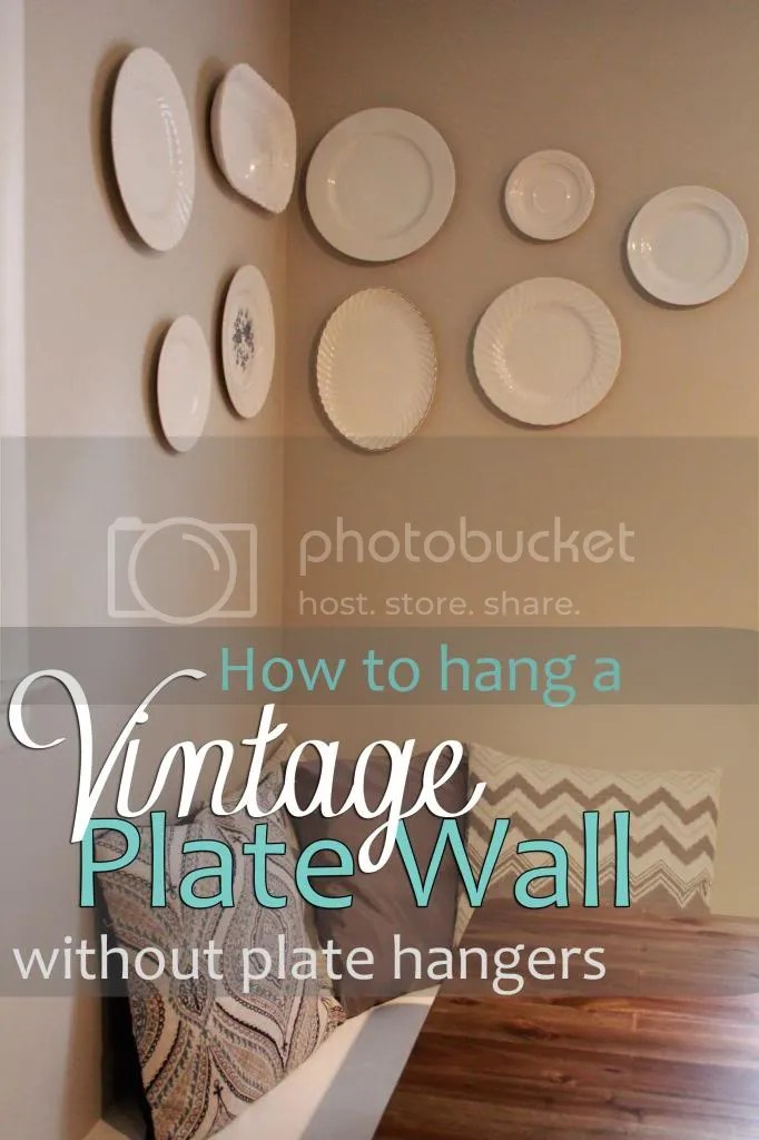 vintage plate wall without plate hangers