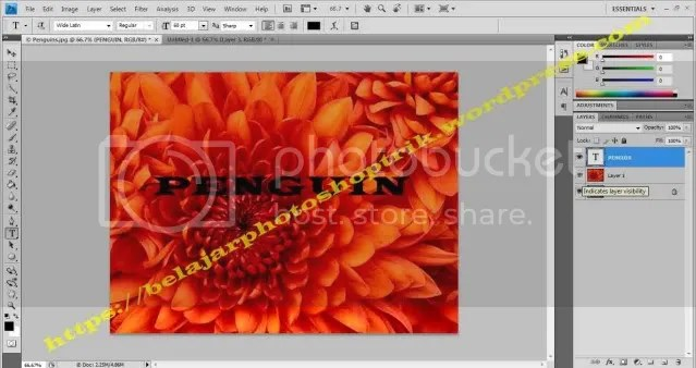 Belajar Photoshop Menempatkan Gambar di Dalam Text Dengan Clipping Mask