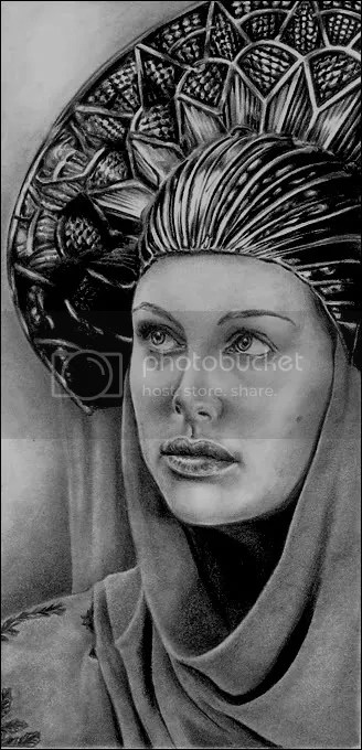 Padme in refugee disguise. Pencil on drawing paper. By M. R. Ayo
