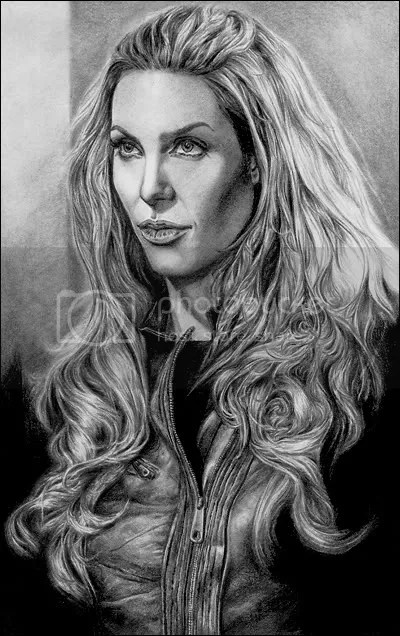Angelina Jolie as Fox from the movie WANTED. Pencil on drawing paper. By M.R. Ayo