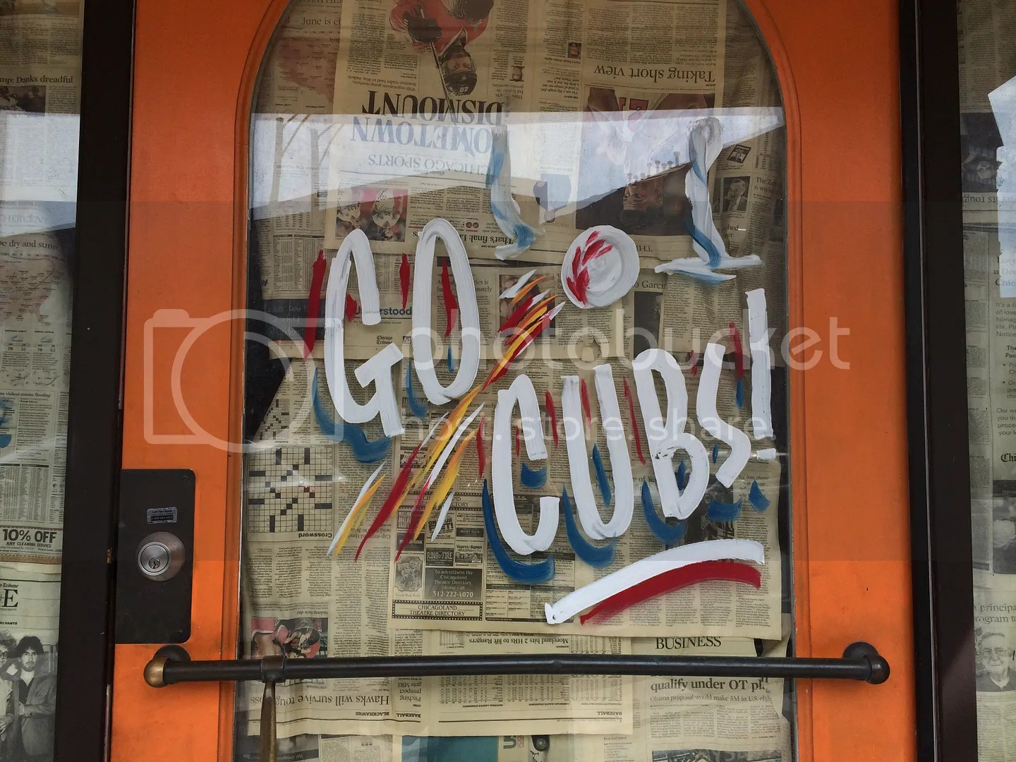 go cubs sign in shop window