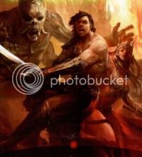 Bárbaro protegiendo a una mujer de un monstruo